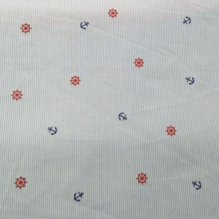 Tissu coton rayé ancre et gouvernail