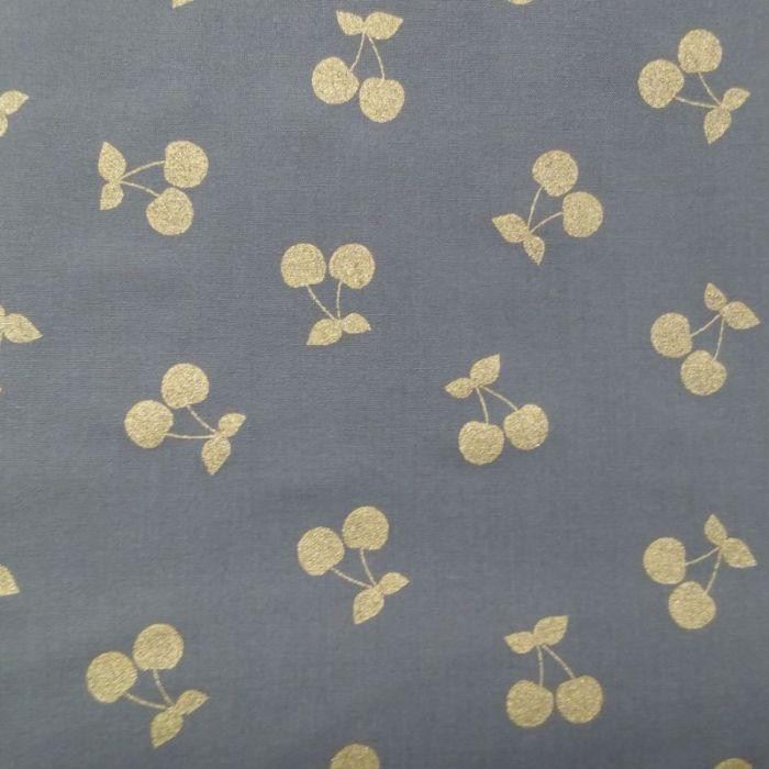 Tissu cherries gold gris