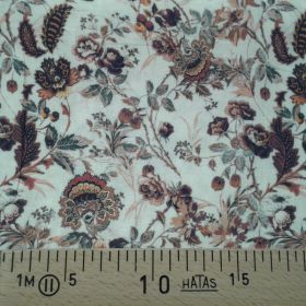 Tissu coton fleuri brun