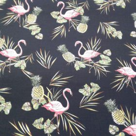 Tissu coton flamingo noir