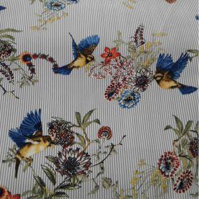 Tissu coton fluide rayé oiseaux