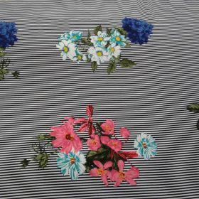 Tissu coton fluide rayé fleurs