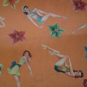 Tissu pin up fond orange