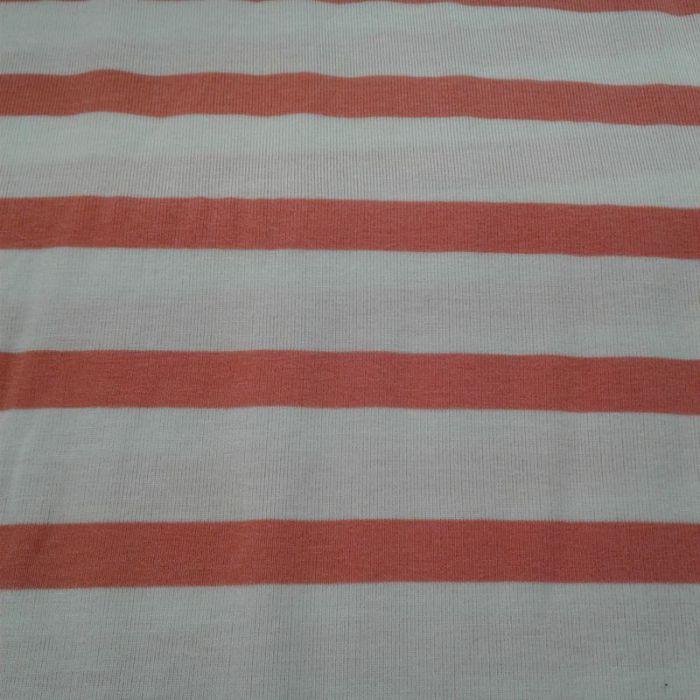 Tissu jersey rayé corail et blanc