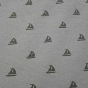 Tissu jersey bateau fond beige