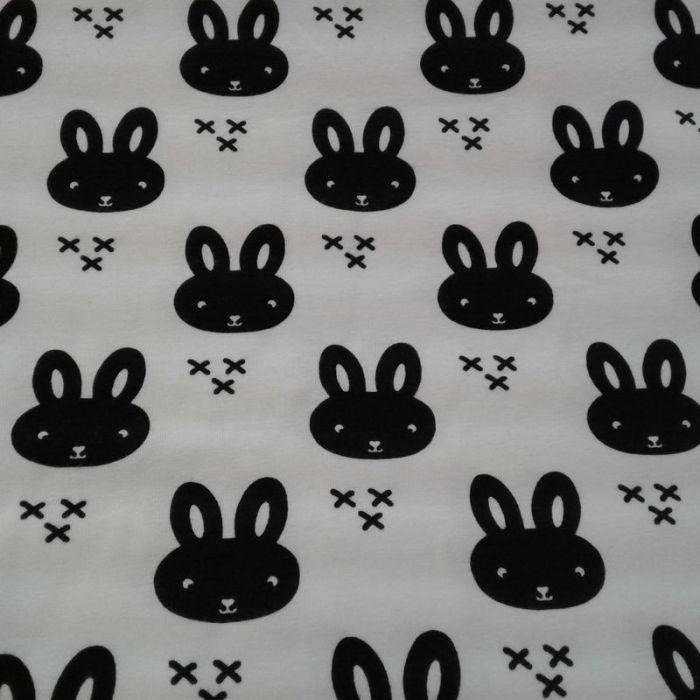 Tissu jersey lapin noir