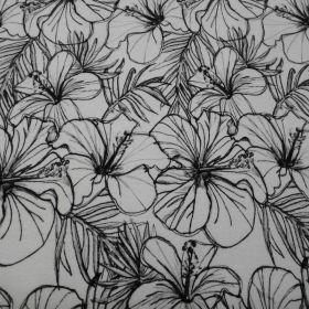Tissu jersey fleur noire