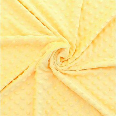 Tissu minkee à pois jaune citron