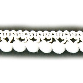 Galon à pompons blanc