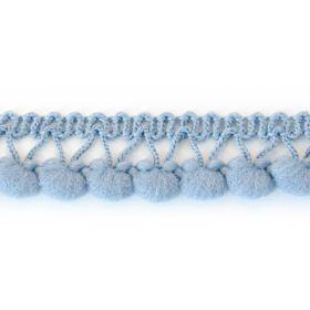 Galon à pompons bleu gris