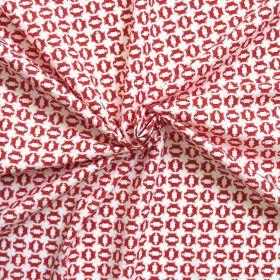 Tissu crabe rouge sur fond blanc