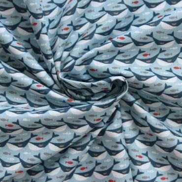 Tissu baleines sur fond bleu claire