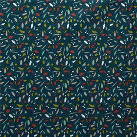 Tissu silias paon multicolore fond vert