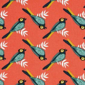 Tissu liki corail/cactus oiseaux