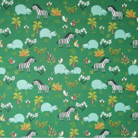 Tissu hippopotame et zebre fond vert