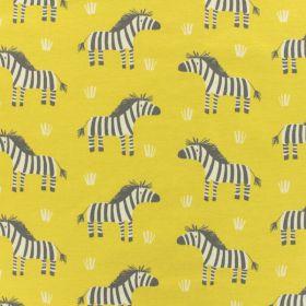 Tissu zebre sur fond jaune savane