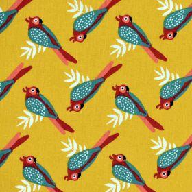 Tissu Liki ambre/brandy oiseau