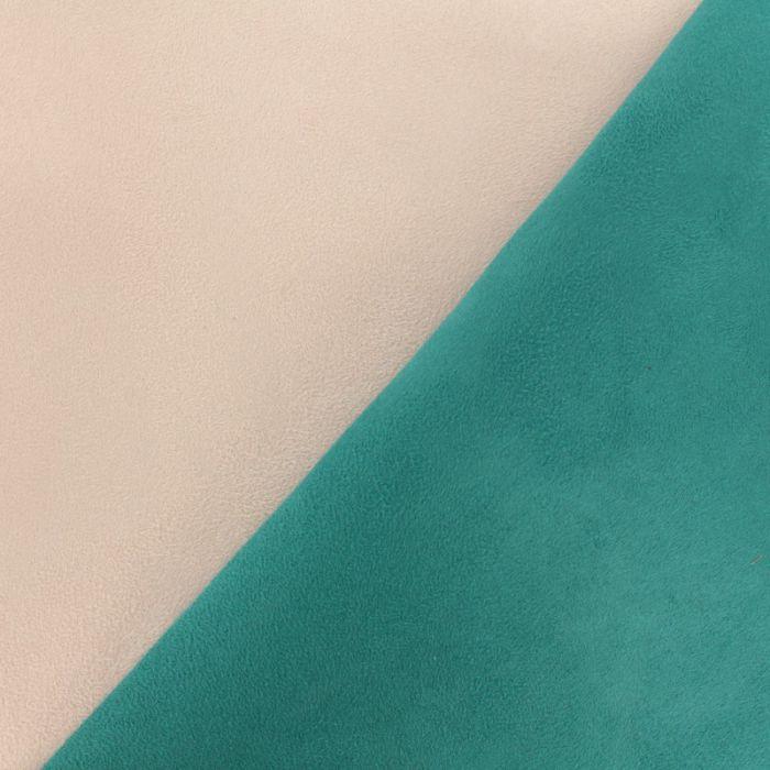 Tissu suédine bicolore rose et vert paon