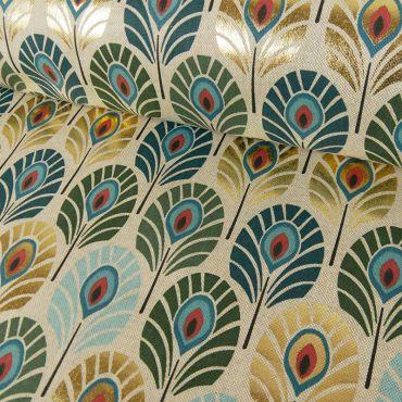 Toile de coton plume de paon canard lurex