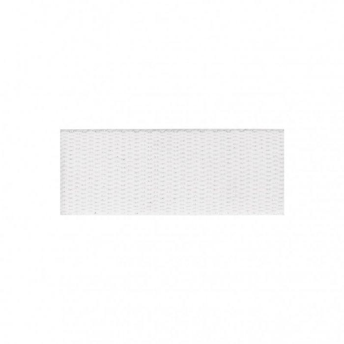 Sangle coton avec fil de lurex argente 30mm fond blanc