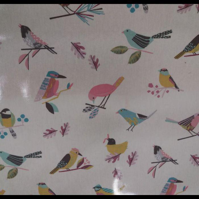 Toile enduite Bertie parma violet oiseaux
