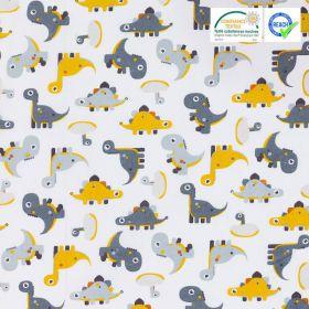 Tissu dinosaure gris et moutarde