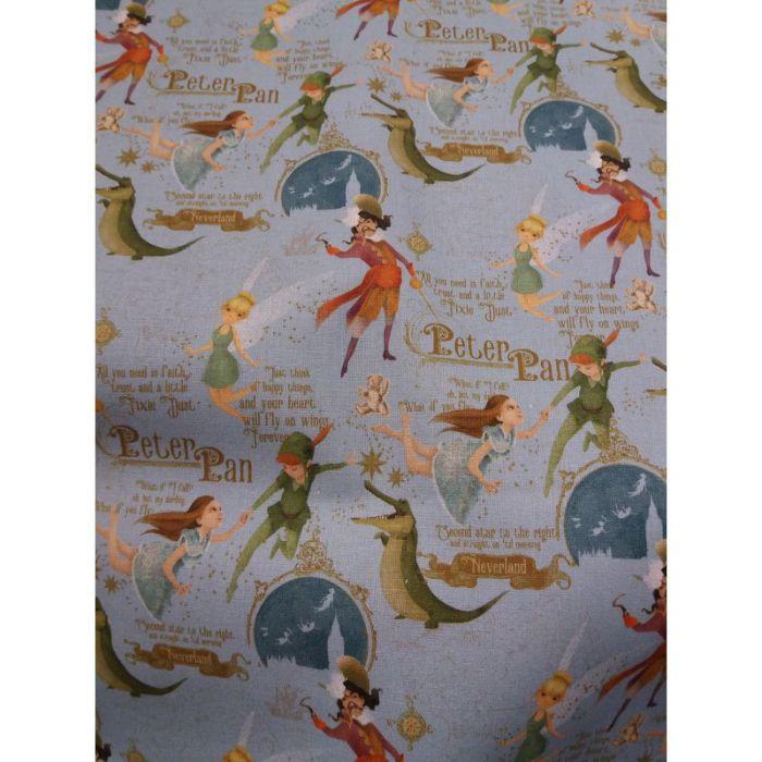 Tissu Peter Pan fond bleu