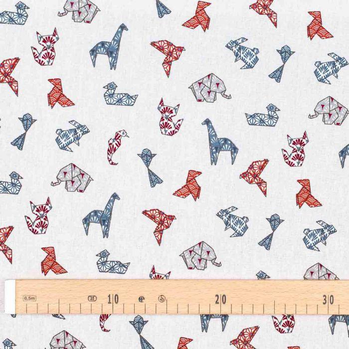 COCOTTES origami GRIS ROUGE 160CM 100% COTON