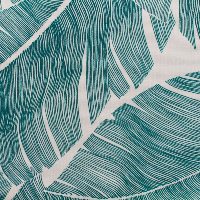 Tissu enduit grandes feuilles vertes fond ecru
