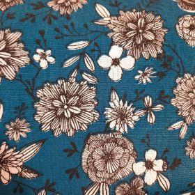 Coton fleuri noir et blanc  fond bleu 160cm