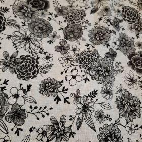 Coton fleuri noir et blanc 160cm