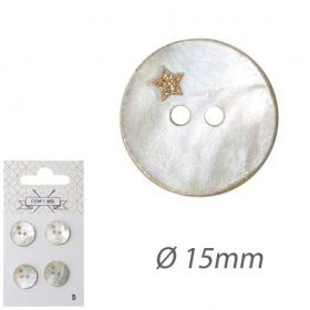 Boutons nacres 15mm etoile or