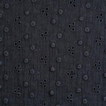 Double gaze gaufree  Adele   noir brodée 100% co 130cm