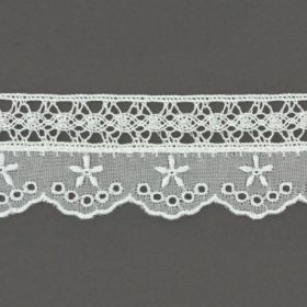 DENTELLE /BRODERIE ANGLAISE BLANCHE 40MM 100%COTON