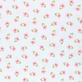 Coton fleur fond blanc 150cm