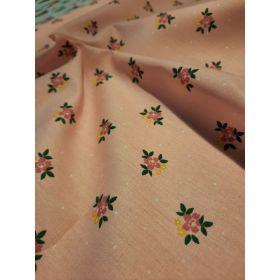 Coton fleuris fond rose 150cm 100%coton