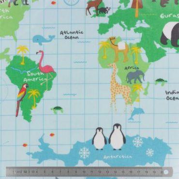 Coton enduit Fryett's carte du monde 132cm