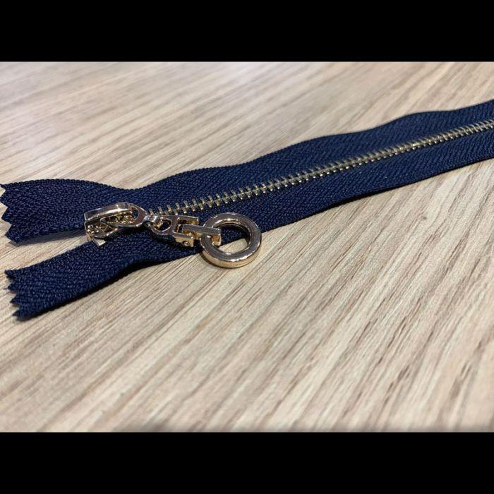 Fermeture metal doré 20cm marine