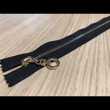 Fermeture metal doré 30cm noir