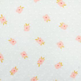 Plumetis blanc fleuris rose 140cm
