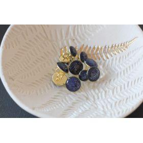 Bouton de bottine bleu marine pailleté or 11mm