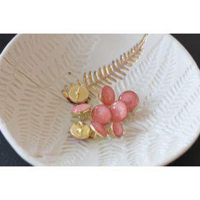Bouton de bottine corail pailleté or 11mm