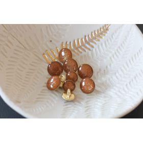 Bouton de bottine miel pailleté or 11mm