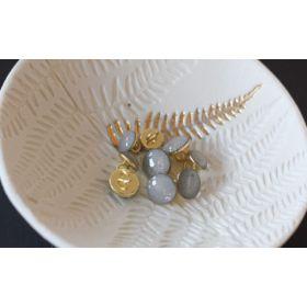 Bouton de bottine gris perle pailleté or 11mm