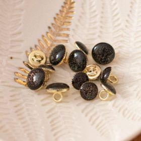 Bouton de bottine noir pailleté or 11mm