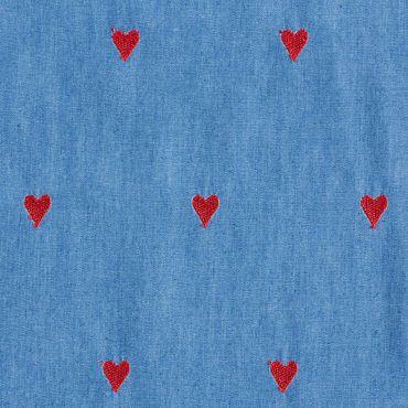 Jeans coeur brodé rouge 145cm