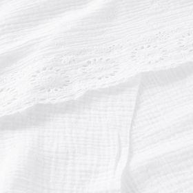 Double gaze avec bordure brodée et festonnée blanche 130cm