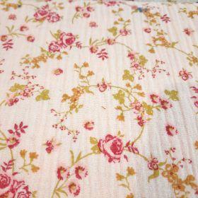 Double gaze rose fleuri 130cm 100%coton